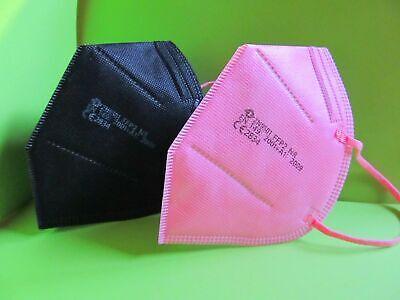 10 FFP2 Masken schwarz rosa pink Atemschutz CE Prüfstelle 2834 zertifiziert Neu