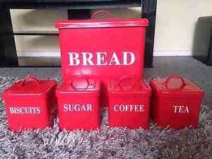 CANISTER SET 5 PIECE  BREAD SUGAR COFFEE TEA BISCUIT KITCHEN TINS Dandenong Greater Dandenong Preview