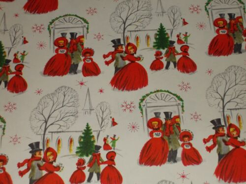 VTG CHRISTMAS EVE CHURCH SERVICE WRAPPING PAPER GIFT WRAP WINTER SCENE TOP HAT