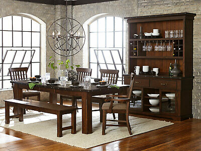 NEW 6 pieces Brown Dining Room Kitchen Set Rectangular Table Bench & Chairs
