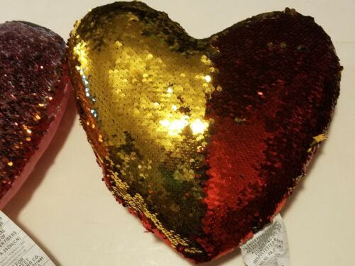 Heart Shape Sequence Pillow Red and Gold