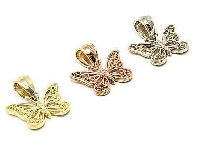 14k Yellow White or Rose Gold Butterfly Charm Pendant