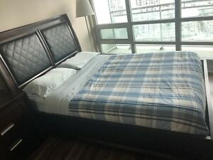 Real wood bed frame, mattress and side table