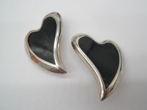 VINTAGE USED LARGE STERLING SILVER WAVEY HEART BLACK ONYX TAXCO CLIP ON EARRINGS