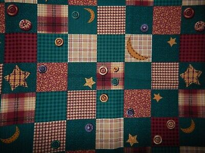 cotton cheater quilt fabric green burgundy star moon BTY check floral tan - Floral Check Cotton Fabric