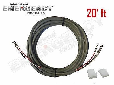 20 Ft Strobe Cable 3 Wire Power Supply Shielded For Whelen Federal Signal Code3