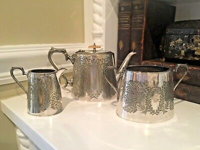 Silver Plated Coffee Set - 19th C JAMES DIXON (?) Georgian Silver Plated Coffee Set FERN & W Engraving