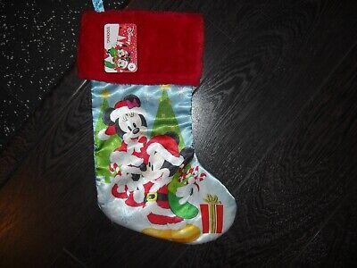 "Disney Mickey Mouse & Minnie 18"" Satin Christmas Stocking"
