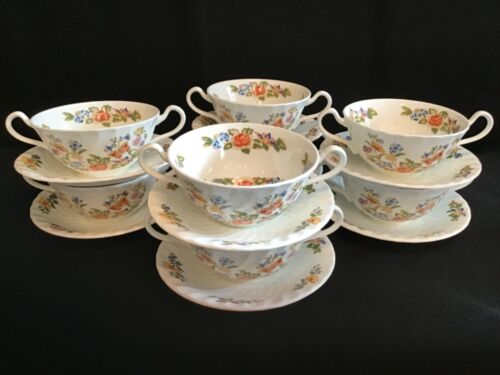 Aynsley Cottage Garden Cream Soup Bowls with Under Plates