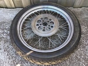 1983 Harley Davidson front wheel, tyre, disk, 19 straight RWC Waurn Ponds Geelong City Preview