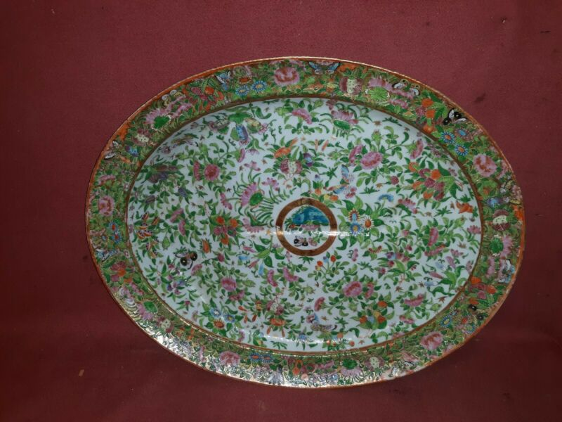 Antique Chinese Rose Medallion Porcelain Well  and Tree Platter
