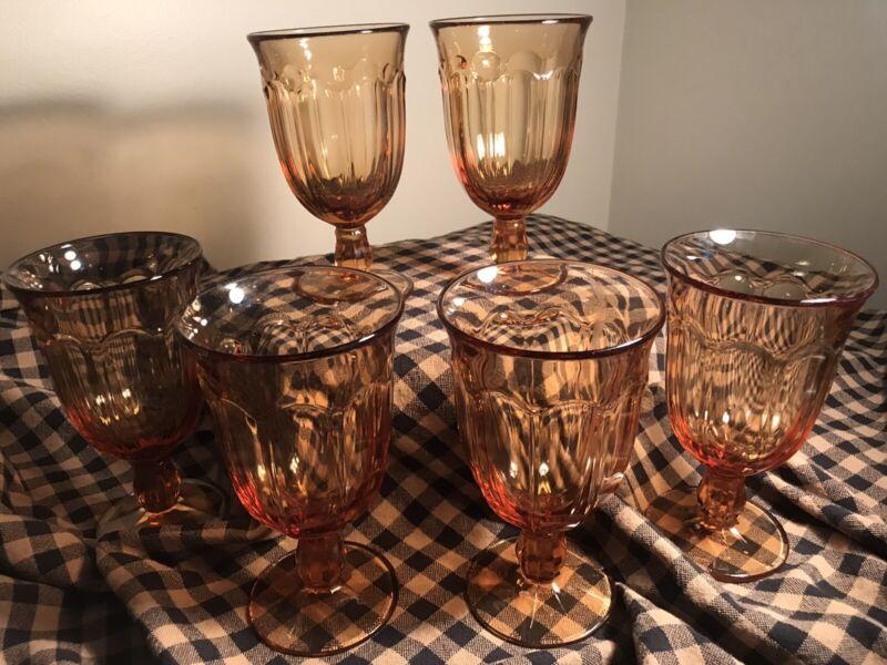 VINTAGE Libbey Drinking Glass Goblets 16 oz. Duratuff GIBRALTAR Amber Set of 6