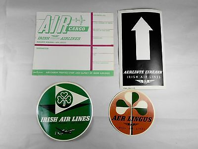 Vintage Are Lingus Irish Airlines Baggage Label Stickers - Lot of 4
