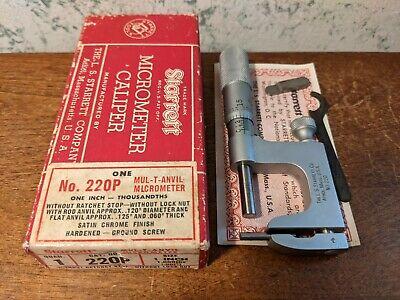 Starrett 0-1 Inch Multi Anvil Micrometer No 220 W Box