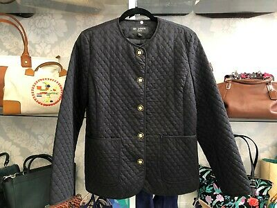 ST. JOHN COATS Black Quilted Jacket w/ Gold & Black Enamel Buttons Sz M $$$ for sale  Shipping to India