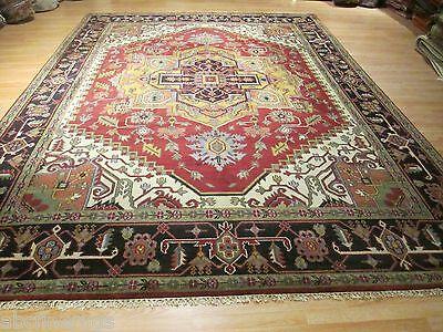 10x14 Museum Heriz-Serapi Vegetable Dye Hand-made-knotted Wool Rug 580535