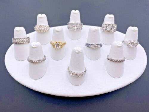 STERLING SILVER 925 CLEAR CUBIC ZIRCONIA CZ WEDDING ANNIVERSARY BANDS RINGS LOT