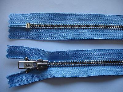 2 Stück Reißverschluß YKK hellblau 30cm lang, nicht teilbar Y73