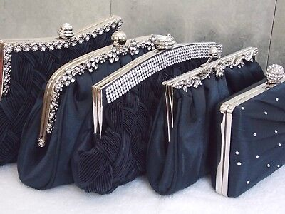Navy Blue Diamante Crystal Satin Bridal Wedding Prom Purse Clutch Handbag Bag UK