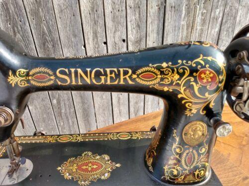Antique Singer Sewing Machine Red Eye Treadle Head 66 G3476724