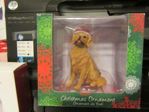 Sandicast Golden Retriever Christmas Ornament With Hat  NIB