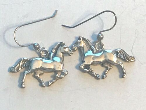 Sterling Silver Running Horse Earrings, Signed GS