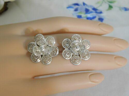 Vintage Silver 800 Filigree Flowers Clip on Lovely Earrings