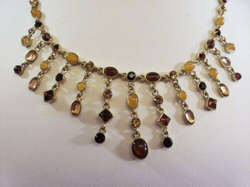 GORGEOUS Gold Tone Earth tone Rhinestone Cabochon Fashion Necklace