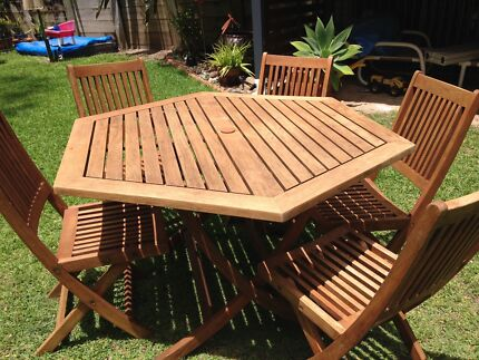 Teak folding outdoor setting