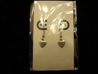 Petite Heart Paw Charm Earring Hypoallergenic French Wire *USA Seller Free Ship*