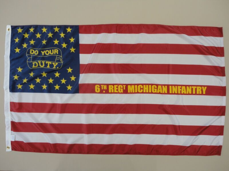 6th Michigan Infantry Regiment Indoor Outdoor Historical Dyed Nylon Flag 3