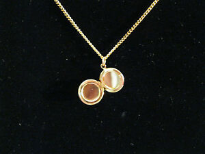 Tiny-Round-Locket-1-2-on-16-Gold-Plated-Chain-From-the-60s-Vintage