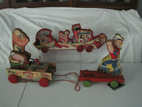 3 vintage Popeye wooden pull toys 1962 and 1950-60