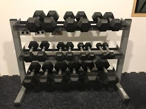 rubber hex dumbbells and rack crossfit home gym  gym