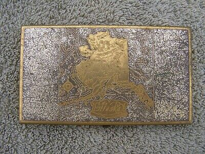 Vintage Wadsworth Cigarette Case ALASKA Map Gold Tone 5 x 3""