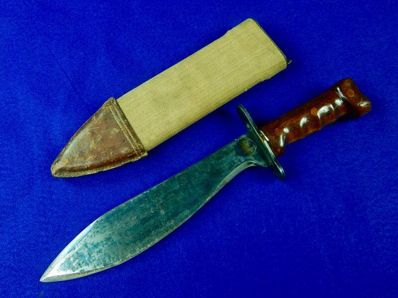 US WW1 Antique Old Bolo Fighting Knife w/ Scabbard