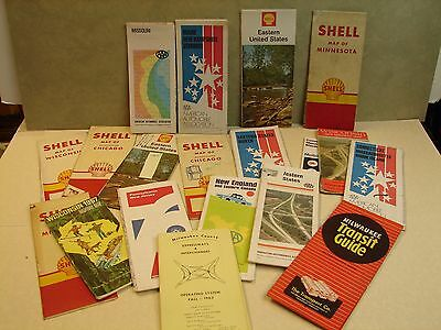 Lot of 19 Vintage Road Map,