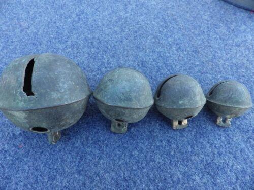 "Four Brass Bells Animal, Sheep, Goat or Sleigh 1 1/4"" - 2 1/2"" Vintage Patina"