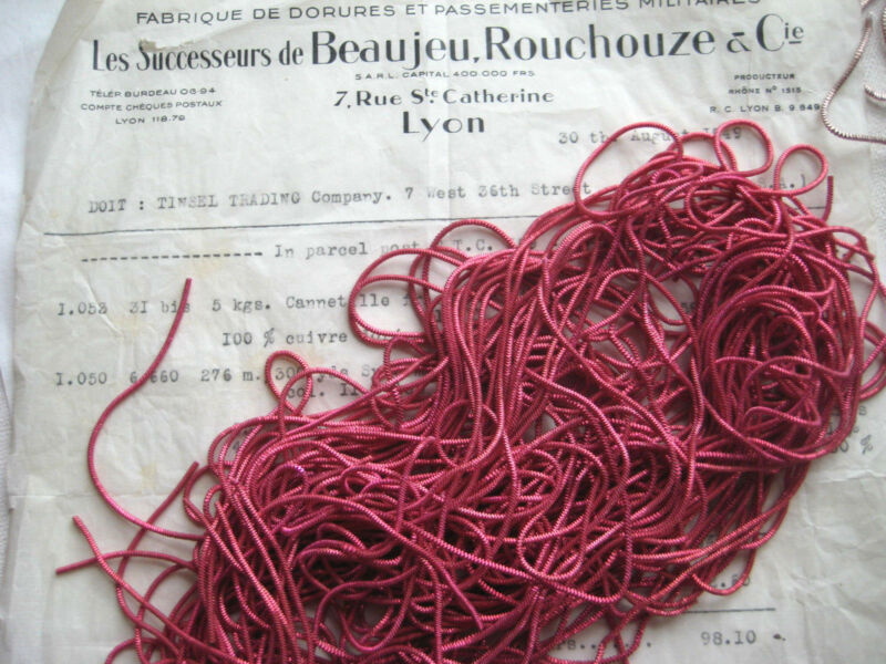 AUTHENTIC FRENCH Vintage Dk Pink Metal Thread Check Purl Bullion Embroidery