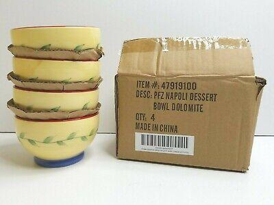 "4 Pfaltzgraff Napoli Dessert Bowl Set 3"" Hand Painted Stoneware Pottery Dish NEW"