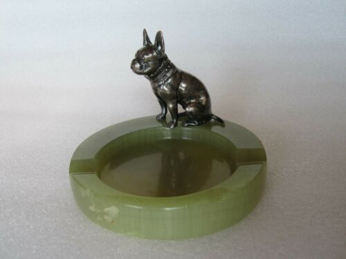 RARE Antique Solid Sterling Silver Bulldog Sculpture Onyx Ashtray GERMANY