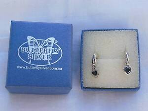 UNWORN Cute girl's silver and black heart earrings Maroochydore Maroochydore Area Preview