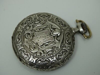 OLD LONGINES SILVER POCKET WATCH BEAUTIFUL ENGRAVED CASE