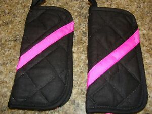 Flat Iron / Curling Iron Fabric Case/ Cover Travel Size 2 piece Set pink and Blk
