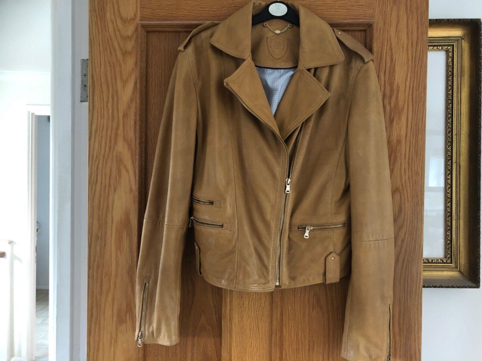 Womens Massimo Dutti butterscotch leather biker jacket size 12