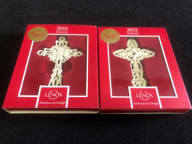 2015 and 2016 Lenox Annual Snow Fantasies Cross Ornaments You Get The Pair! Nice