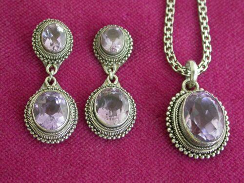 Wonderful Vintage Sterling Silver Amethyst Earrings & Necklace Set    ...  L3911