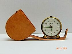Vintage BRADLEY Alarm Clock WEST GERMANY attached leather-travel case WORKS
