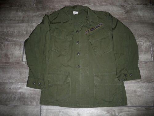 Vintage US ARMY Vietnam Era Rip-Stop Uniform Top Shirt Jacket Olive Size Small
