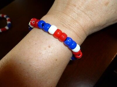 Red White and Blue elastic plastic Beaded bracelet Patriotic America 7 inch D2 - Red White And Blue Bracelet